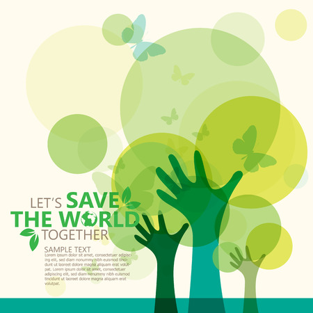 green background: save the world Illustration