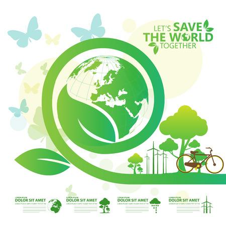 global environment: save the world Illustration