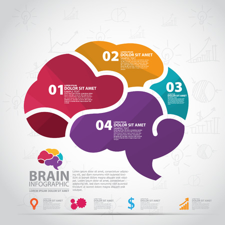 thinking brain: infographics vector brain design
