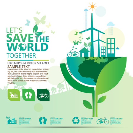sustainable: environment infographic Illustration