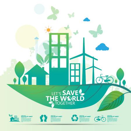 verde: salvar el mundo Vectores