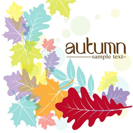 borde de flores: Hojas de otoño de diseño Vectores