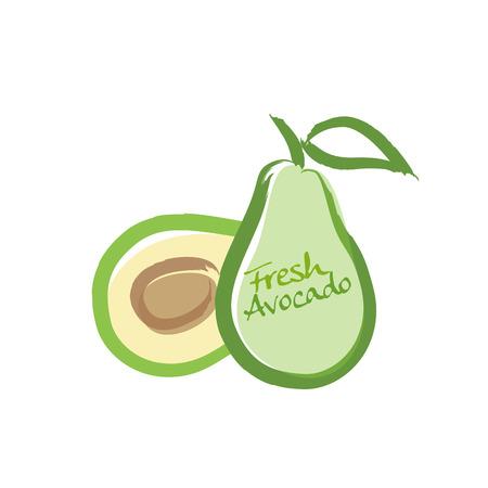 sliced fruit: avocado vector illustration