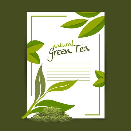 midday: green tea vector Illustration