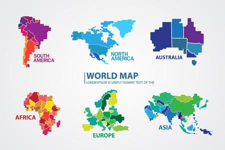 south  america: Mapa del mundo Vectores