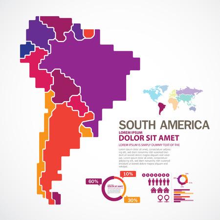 america del sur: Mapa de América del Sur Vectores