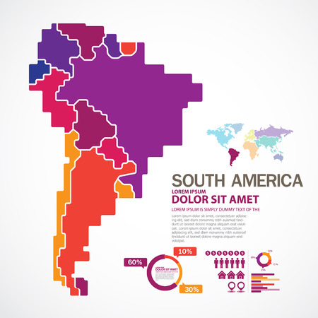 silhouette america: South America map