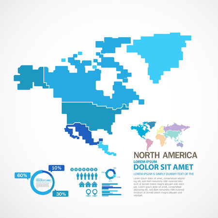 silhouette america: north america map