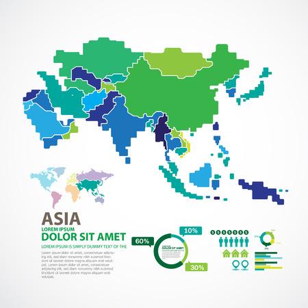 Asien-Karte Standard-Bild - 46959735