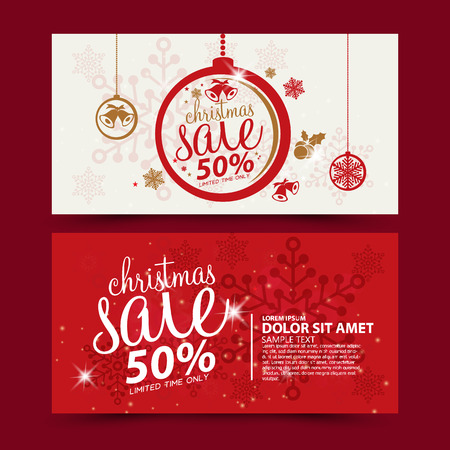 christmas bells: Christmas sale design template