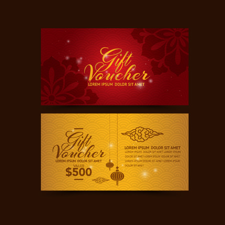 Chinese New Year Gift Voucher design template Ilustrace