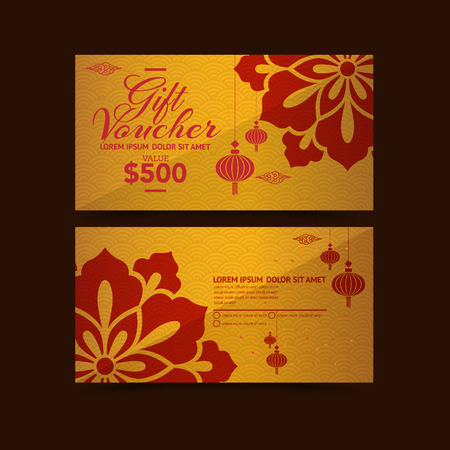 invitation cards: Chinese New Year Gift Voucher design template Illustration
