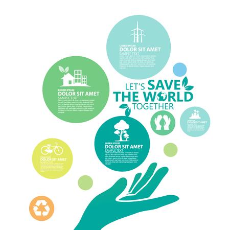 Środowisko. Miejmy Save the World Razem Ilustracje wektorowe