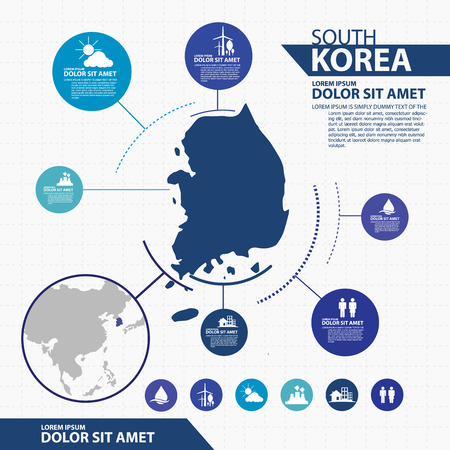 asia pacific map: south korea map infographic Illustration