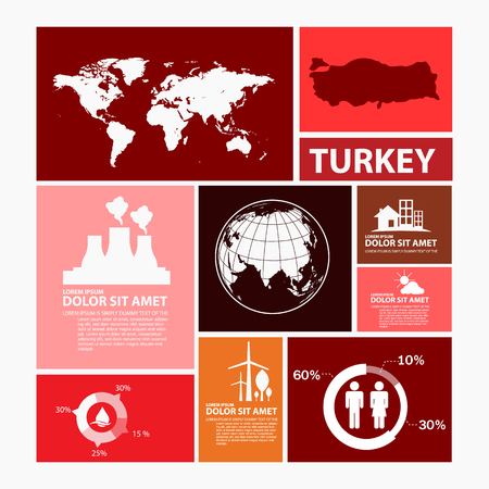 turkey: turkey map infographic Illustration