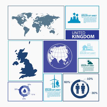Royaume-Uni carte infographique Vecteurs