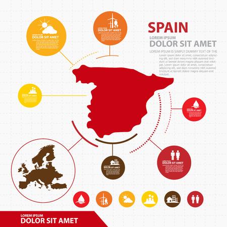 スペイン地図インフォ グラフィック