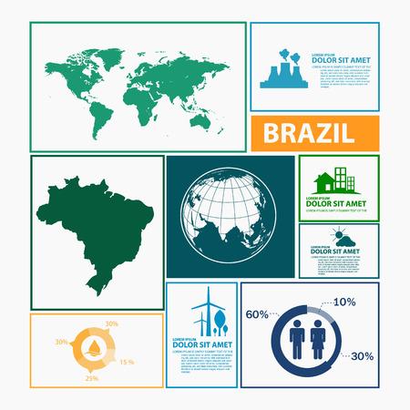 brazil map: brazil map infographic