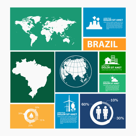 america del sur: Brasil Mapa infografía