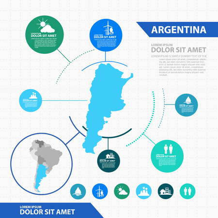 map of argentina: argentina map infographic