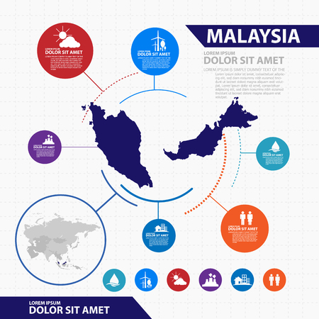 pacific: malaysia map infographic Illustration