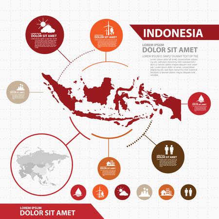 Indonesia Mappa infografica Vettoriali