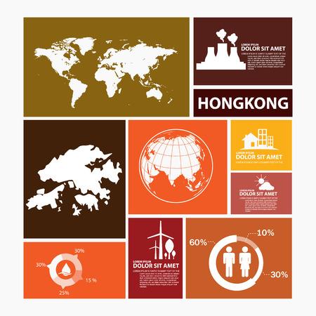 hong: hong kong map infographic Illustration