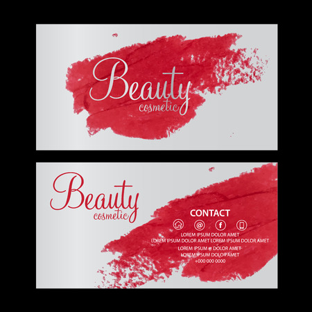 close: beauty cosmetics card vector