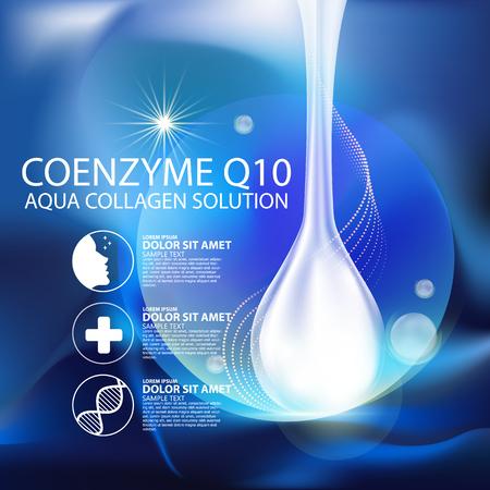 coenzima Q10 y suero Fondo del concepto del Cuidado de la Piel Cosméticos.
