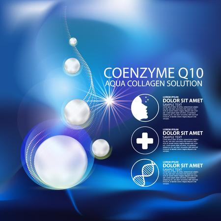 oxigeno: coenzima Q10 y suero Fondo del concepto del Cuidado de la Piel Cosméticos.