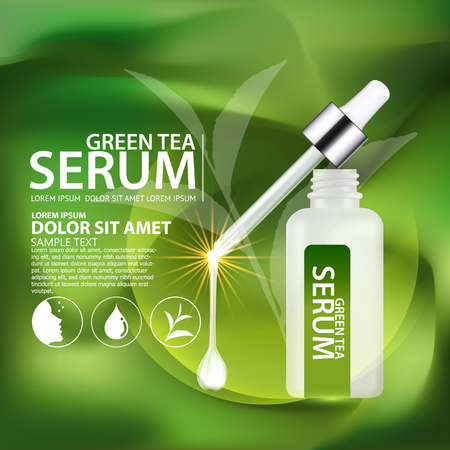 cosmeticos: Suero de té verde y el Fondo del concepto del Cuidado de la Piel Cosméticos.