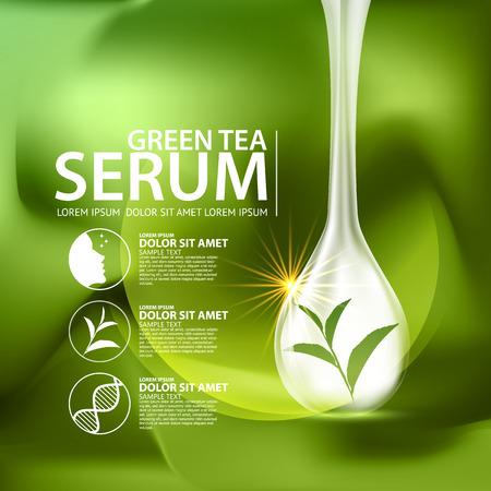 Tè verde siero e sfondo concetto di cura della pelle cosmetici. Vettoriali