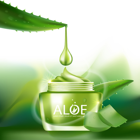 Aloe Vera collagen Serum and Background Concept Skin Care Cosmetic. Imagens - 58386881