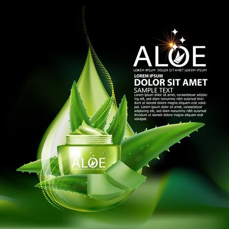 vera: Aloe Vera collagen Serum and Background Concept Skin Care Cosmetic.