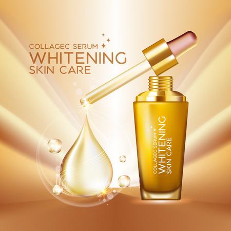 transparente: Suero de Colágeno Concepto Fondo de la piel Cuidado de la cosmética Vectores