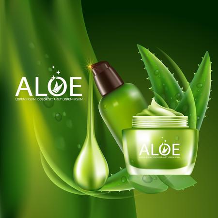 productos de belleza: Aloe Vera colágeno en suero y Fondo del concepto del Cuidado de la Piel Cosméticos