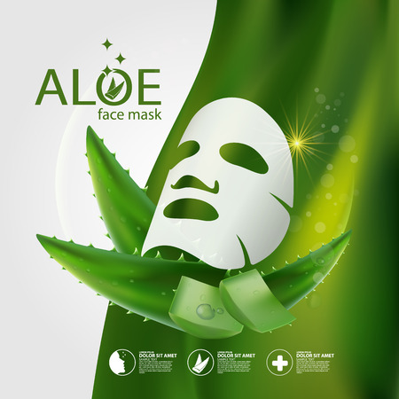 complexion: Aloe Vera collagen Mask Serum and Background Concept Skin Care Cosmetic.