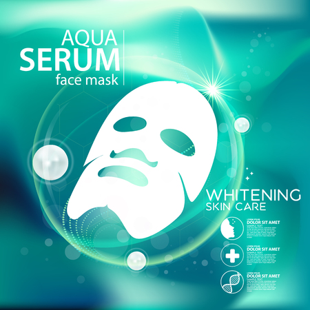aqua background: aqua skin collagen mask Serum and Background Concept Skin Care Cosmetic.