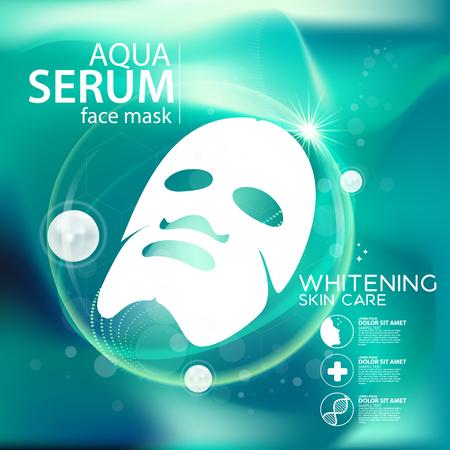 aqua skin collagen mask Serum and Background Concept Skin Care Cosmetic.