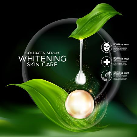 El colágeno y Suero concepto cosmético para la piel.