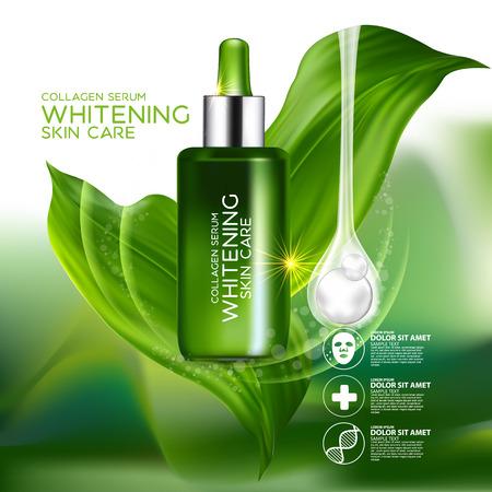 productos de belleza: El colágeno y Suero concepto cosmético para la piel.