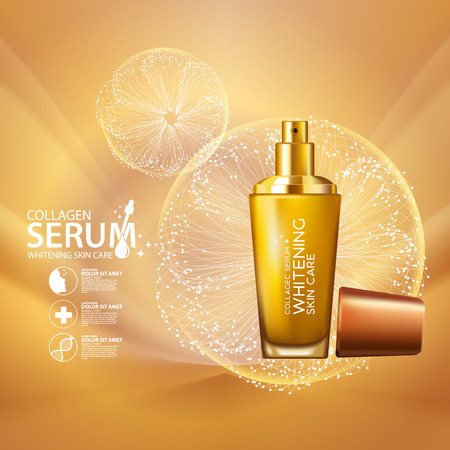 skin care face: Collagen Serum Background Concept Skin Care Cosmetic