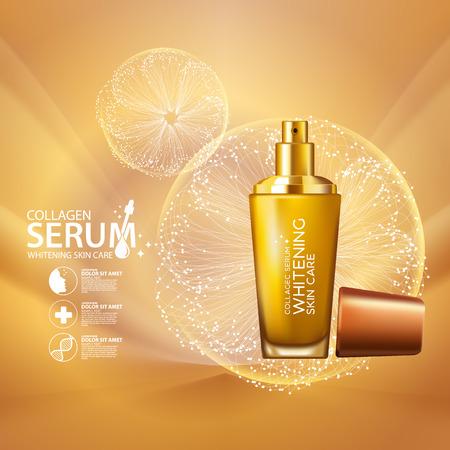 Collagene Siero sfondo concetto di cura della pelle cosmetici Vettoriali
