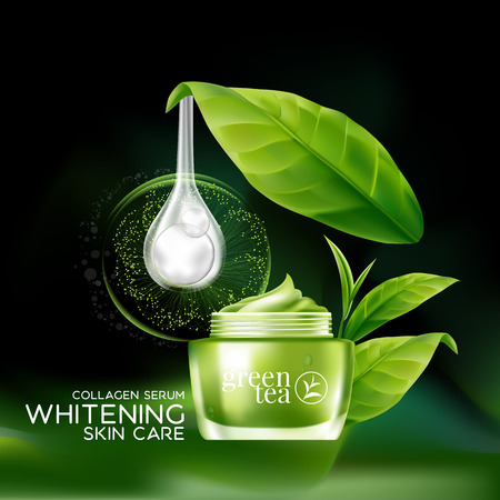 clear skin: Green tea Mask Serum and Background Concept Skin Care Cosmetic.