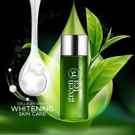 face treatment: Green tea Mask Serum and Background Concept Skin Care Cosmetic.