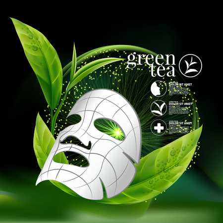serum: Green tea Mask Serum and Background Concept Skin Care Cosmetic.