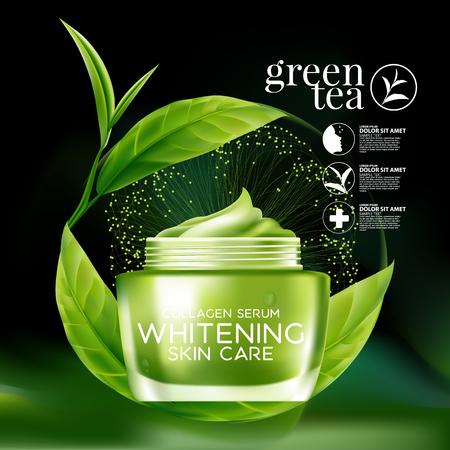 Grüner Tee Maske Serum und Hintergrund Konzept kosmetische Hautpflege. Vektorgrafik