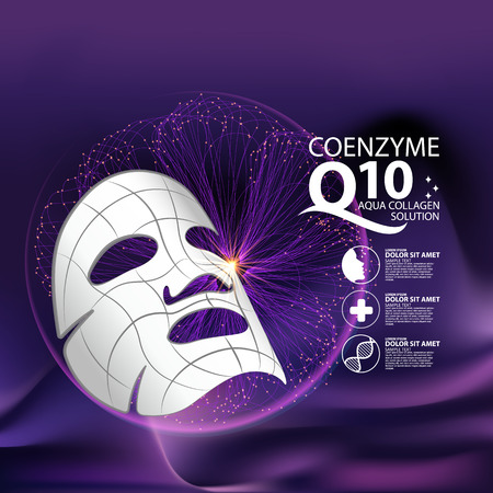 perfect skin: coenzyme q10 Mask Serum and Background Concept Skin Care Cosmetic.