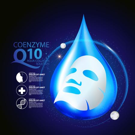 코엔자임 Q10 마스크 세럼과 배경 컨셉 스킨 케어 화장품.