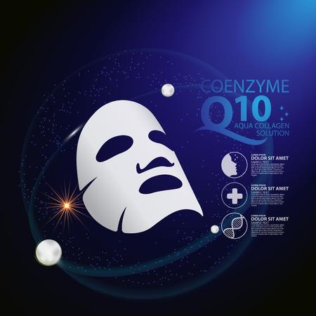 La coenzima Q10 máscara de suero y Fondo del concepto del Cuidado de la Piel Cosméticos.